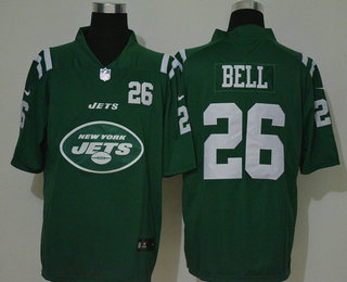 Men's New York Jets #26 Le'Veon Bell Green 2020 Big Logo Number Vapor Untouchable Stitched NFL Nike Fashion Limited Jersey