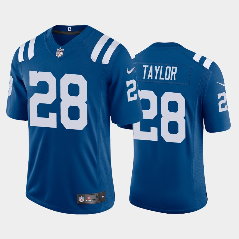 Men's Indianapolis Colts #28 Jonathan Taylor 2020 NFL Draft Vapor Limited Royal Nike Jersey