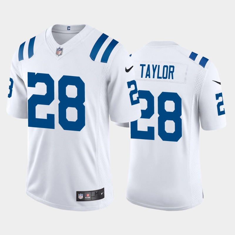 Men's Indianapolis Colts #28 Jonathan Taylor 2020 NFL Draft Vapor Limited White Nike Jersey
