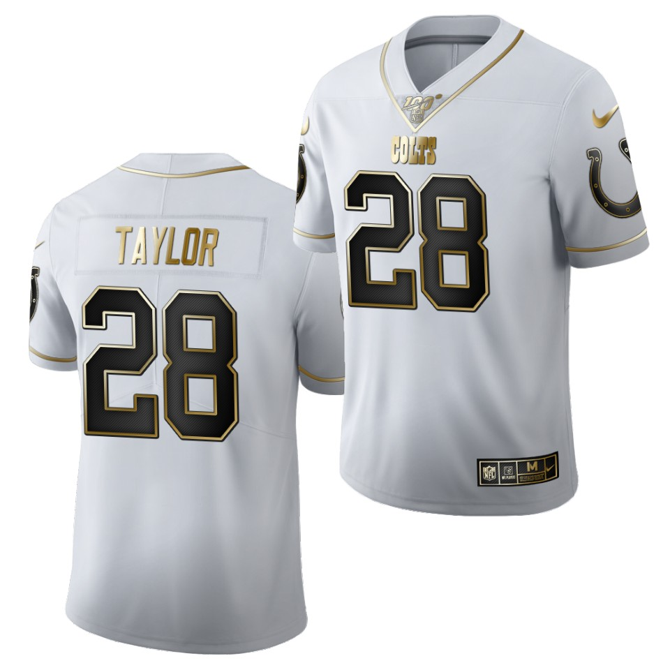 Men's Indianapolis Colts #28 Jonathan Taylor White 2020 NFL Draft Golden Edition Nike Jersey