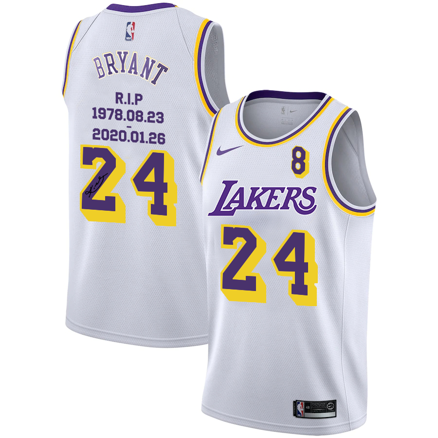 Men's Los Angeles Lakers #24 Kobe Bryant White R.I.P Signature ...