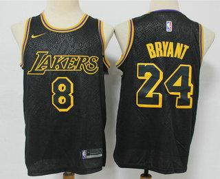 Men's Los Angeles Lakers ##8 #24 Kobe Bryant Black 2020 Nike City ...