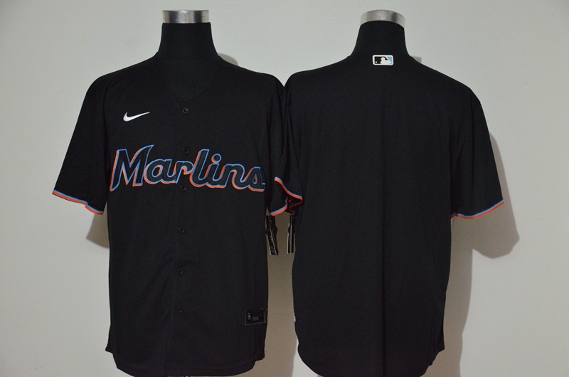 Men's Miami Marlins Blank Black Stitched MLB Cool Base Nike Jersey