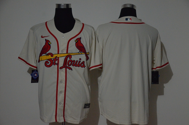 Men's St. Louis Cardinals Blank Cream Stitched MLB Cool Base Nike Jersey