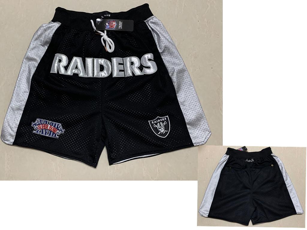 Men's Las Vegas Raiders Black Super Bowl Patch Just Don Shorts