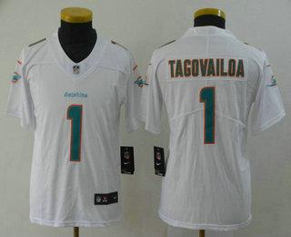 Youth Miami Dolphins #1 Tua Tagovailoa White 2020 Vapor Untouchable Stitched NFL Nike Limited Jersey