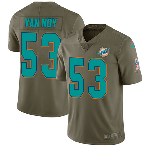 Men's Miami Dolphins #53 Kyle Van Noy Olive Stitched Limited 2017 Salute To Service Jersey