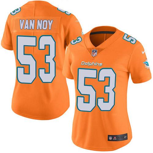 Women's Miami Dolphins #53 Kyle Van Noy Orange Stitched Limited Rush Jersey