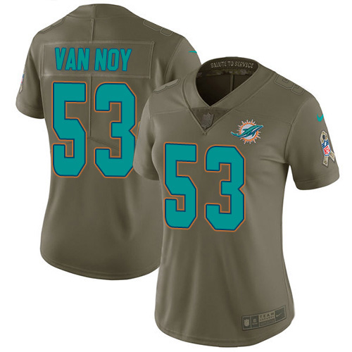 Women's Miami Dolphins #53 Kyle Van Noy Olive Stitched Limited 2017 Salute To Service Jersey