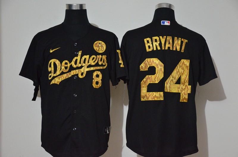 Men's Los Angeles Dodgers #8 #24 Kobe Bryant Black Camo Fashion Stitched MLB Cool Base Nike Jersey