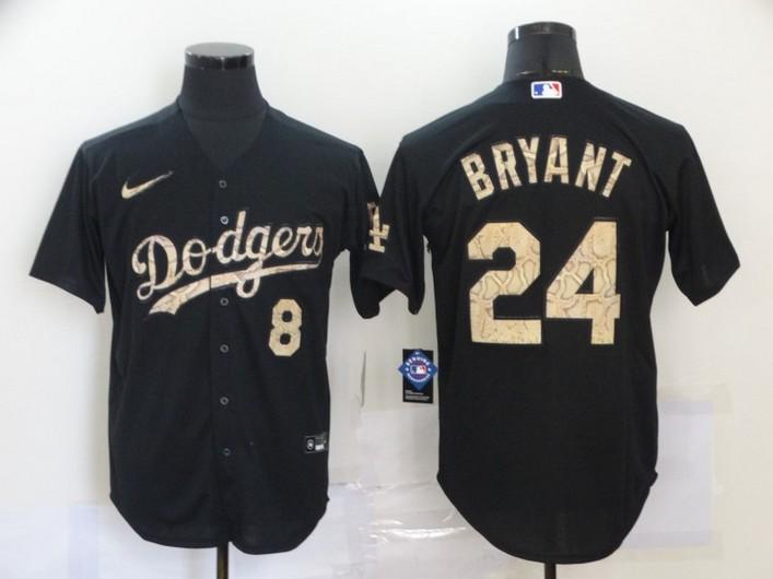 Men's Los Angeles Dodgers #8 #24 Kobe Bryant Black Fashion Stitched MLB Cool Base Nike Jersey