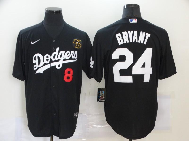 Men's Los Angeles Dodgers #8 #24 Kobe Bryant Black KB Patch Stitched MLB Cool Base Nike Jersey