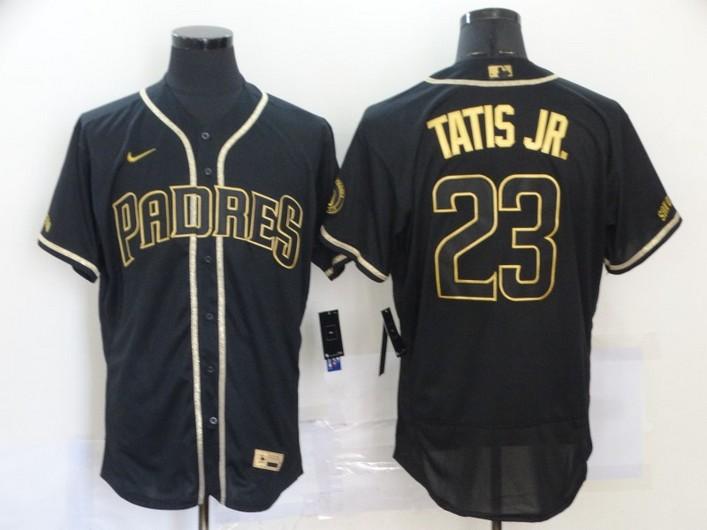 Men's San Diego Padres #23 Fernando Tatis Jr. Black With Gold Stitched MLB Flex Base Nike Jersey
