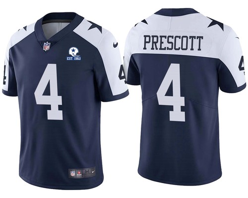 Men Dallas Cowboys #4 Dak Prescott Navy Alternate 60th Anniversary Vapor Untouchable Stitched NFL Nike Limited Jersey