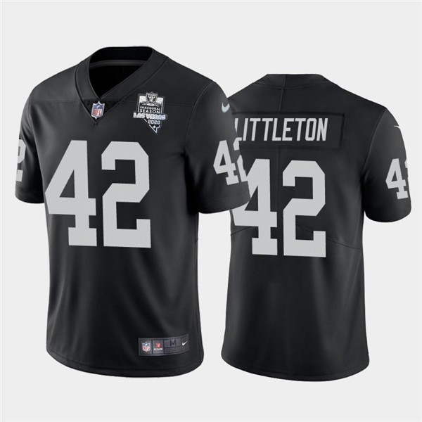 Nike Las Vegas Raiders 42 Cory Littleton Black 2020 Inaugural Season Vapor Untouchable Limited Jersey