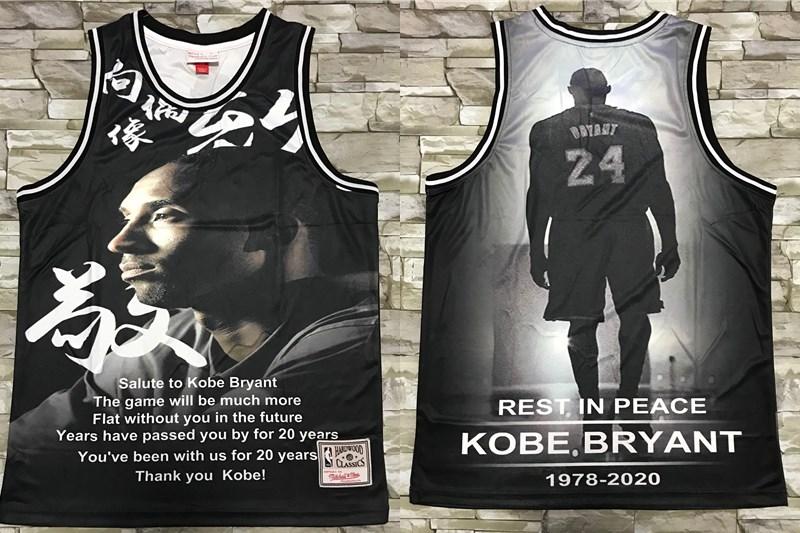 Men's Los Angeles Lakers #24 Kobe Bryant Black Retired CommemorativeSwingman Jersey