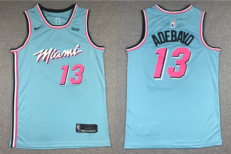Men's Miami Heat #13 Bam Adebayo Light Blue 2019 Nike Swingman Stitched NBA Jersey With The Sponsor Logo