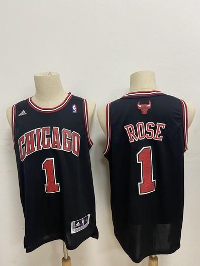 Men's Chicago Bulls #1 Derek Rose Revolution 30 Swingman Black Jersey
