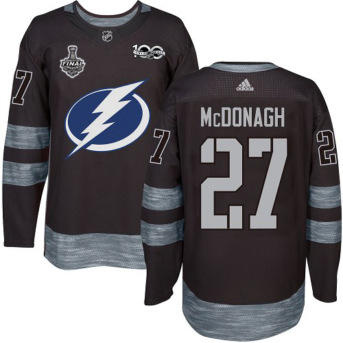 Adidas Lightning #27 Ryan McDonagh Black 1917-2017 100th Anniversary 2020 Stanley Cup Final Stitched NHL Jersey