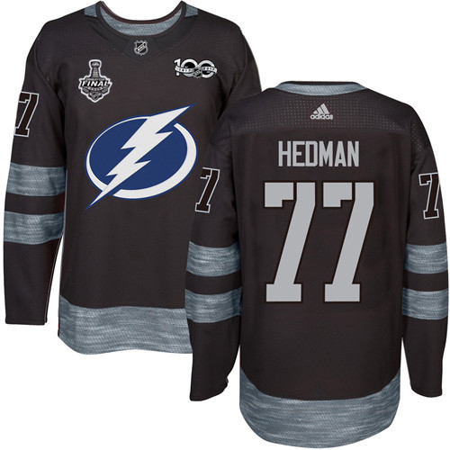 Adidas Lightning #77 Victor Hedman Black 1917-2017 100th Anniversary 2020 Stanley Cup Final Stitched NHL Jersey