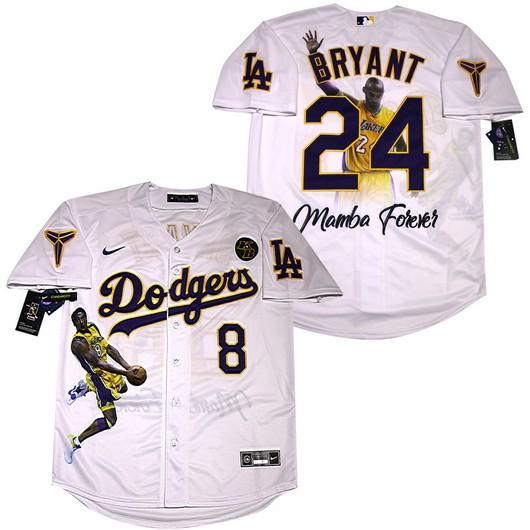 Men's Los Angeles Dodgers #8 #24 Kobe Bryant White With KB Patch ...