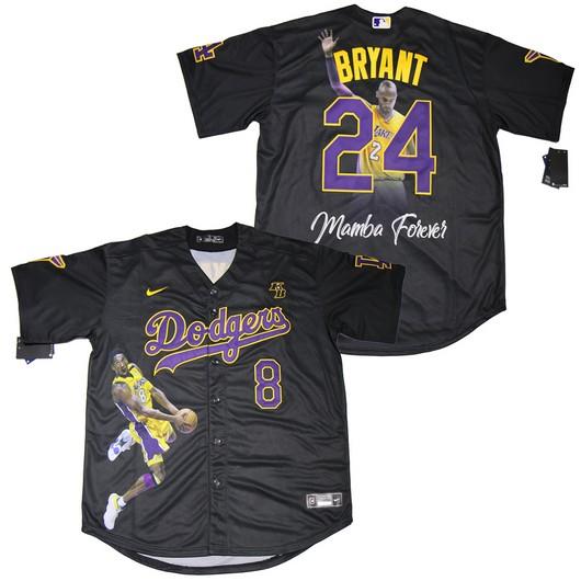 Men's Los Angeles Dodgers #8 #24 Kobe Bryant Black With KB Patch ...
