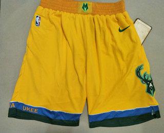 Men's Milwaukee Bucks Yellow City Edition With Pocket Nike Swingman Shorts