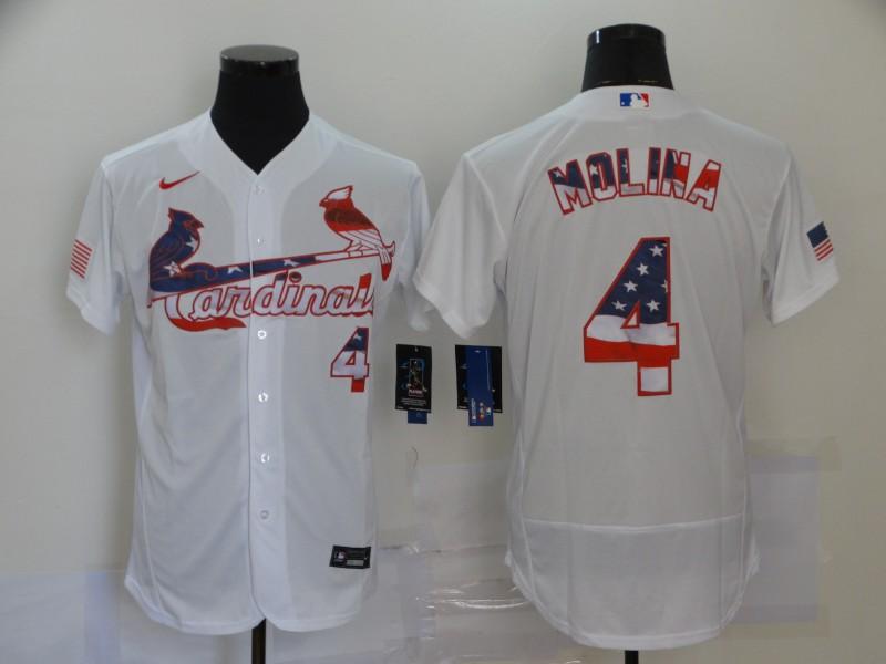 Men's St. Louis Cardinals #4 Yadier Molina White USA Flag Stitched MLB Flex Base Nike Jersey