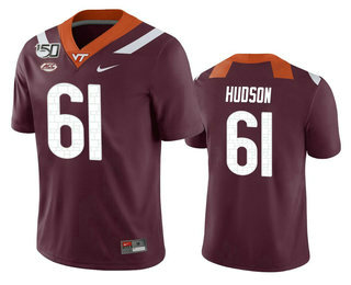 Men's Virginia Tech Hokies #61 Bryan Hudson Maroon 150th College Football Nike Jersey