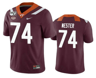 Men's Virginia Tech Hokies #74 Doug Nester Maroon 150th College Football Nike Jersey