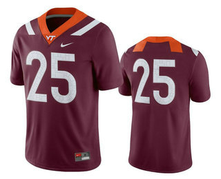Men's Virginia Tech Hokies #25 Maroon College Football Nike Jersey
