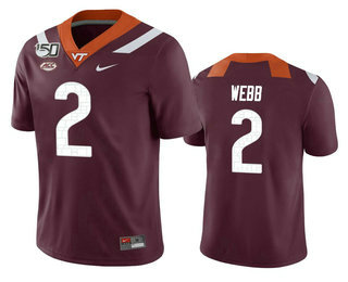 Men's Virginia Tech Hokies #2 Jeremy Webb Maroon 150th College Football Nike Jersey