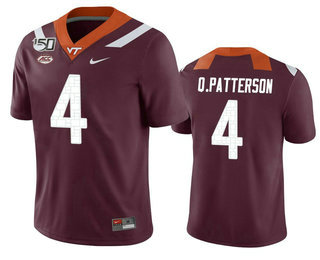 Men's Virginia Tech Hokies #4 Quincy Patterson II Maroon 150th College Football Nike Jersey