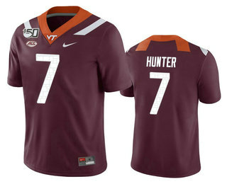 Men's Virginia Tech Hokies #7 Devon Hunter Maroon 150th College Football Nike Jersey