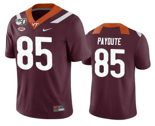 Men's Virginia Tech Hokies #95 Jaden Payoute Maroon 150th College Football Nike Jersey