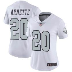 Women's Las Vegas Raiders #20 Damon Arnette Limited White Color Rush Jersey