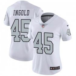 Women's Las Vegas Raiders #45 Alec Ingold Limited White Color Rush Jersey
