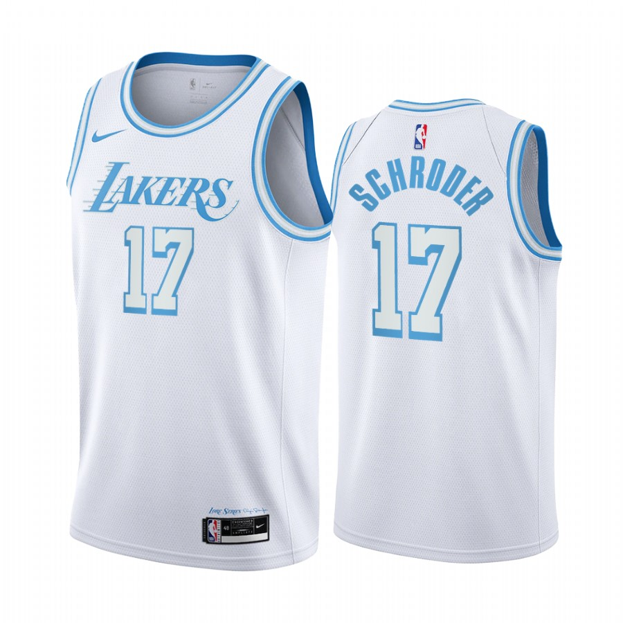 Los Angeles Lakers #17 Dennis Schroder 2020-21 White City Edition Jersey Blue Silver Logo