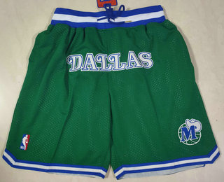 Men's Dallas Mavericks Green Just Don Swingman Throwback Shorts
