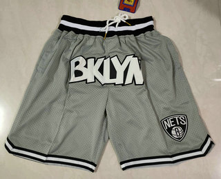 Men's Brooklyn Nets Grey Just Don Swingman Throwback Shorts