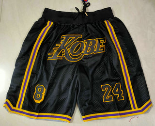 Men's Los Angeles Lakers #8 #24 Kobe Bryant Black Just Don Swingman Throwback Shorts