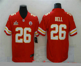 Men's Kansas City Chiefs #26 Le'Veon Bell Red 2021 Super Bowl LV Vapor Untouchable Stitched Nike Limited NFL Jersey