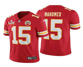 Men's Kansas City Chiefs #15 Patrick Mahomes Red 2021 Super Bowl LV Vapor Untouchable Stitched Nike Limited NFL Jersey