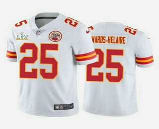 Men's Kansas City Chiefs #25 Clyde Edwards-Helaire White 2021 Super Bowl LV Vapor Untouchable Stitched Nike Limited NFL Jersey