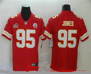 Men's Kansas City Chiefs #95 Chris Jones Red 2021 Super Bowl LV Vapor Untouchable Stitched Nike Limited NFL Jersey