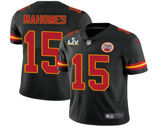 Men's Kansas City Chiefs #15 Patrick Mahomes Black 2021 Super Bowl LV Vapor Untouchable Stitched Nike Limited NFL Jersey
