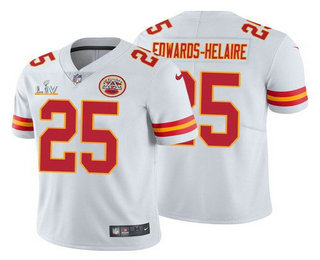 Men's Kansas City Chiefs #25 Clyde Edwards-Helaire White 2021 Super Bowl LV Limited Stitched NFL Jersey
