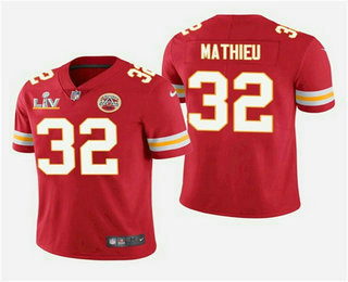 Men's Kansas City Chiefs #32 Tyrann Mathieu Red 2021 Super Bowl LV Vapor Untouchable Stitched Nike Limited NFL Jersey