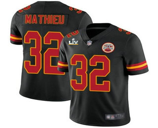 Men's Kansas City Chiefs #32 Tyrann Mathieu Black 2021 Super Bowl LV Vapor Untouchable Stitched Nike Limited NFL Jersey