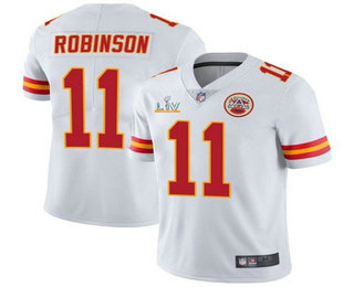 Men's Kansas City Chiefs #11 Demarcus Robinson White 2021 Super Bowl LV Limited Stitched NFL Jersey